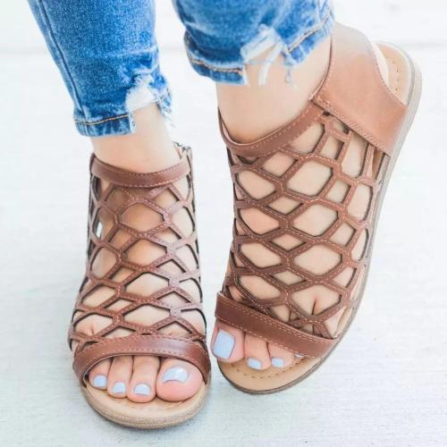 Women Hollow Zipped Peep Toe Flat Sandals