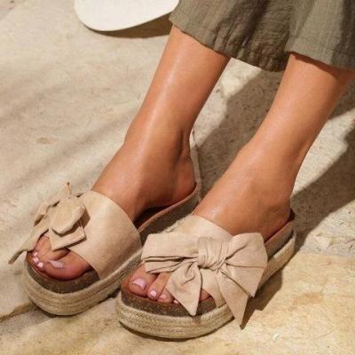 Slip-On Open Toe Bowknot Platform Women Espadrille Sandals