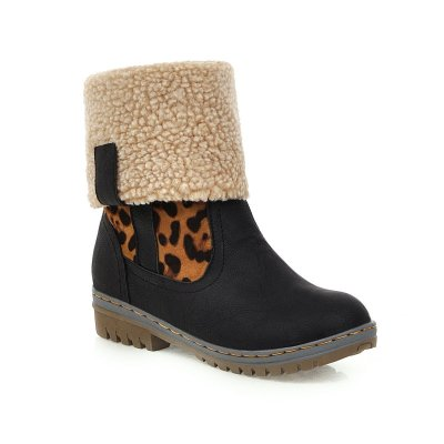 Plus Plush Lining Leopard Print Splice Round Toe Winter Boots