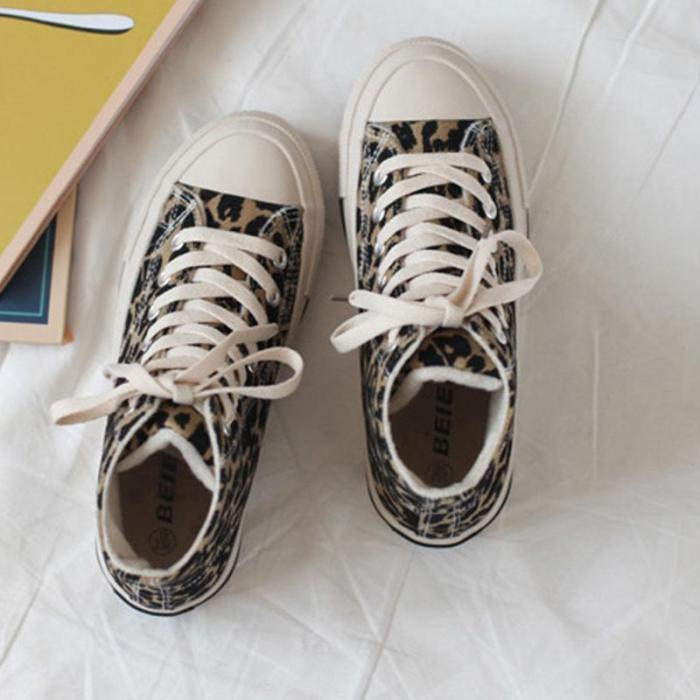 Leopard Print Canvas High-top Casual Flat Sneakers