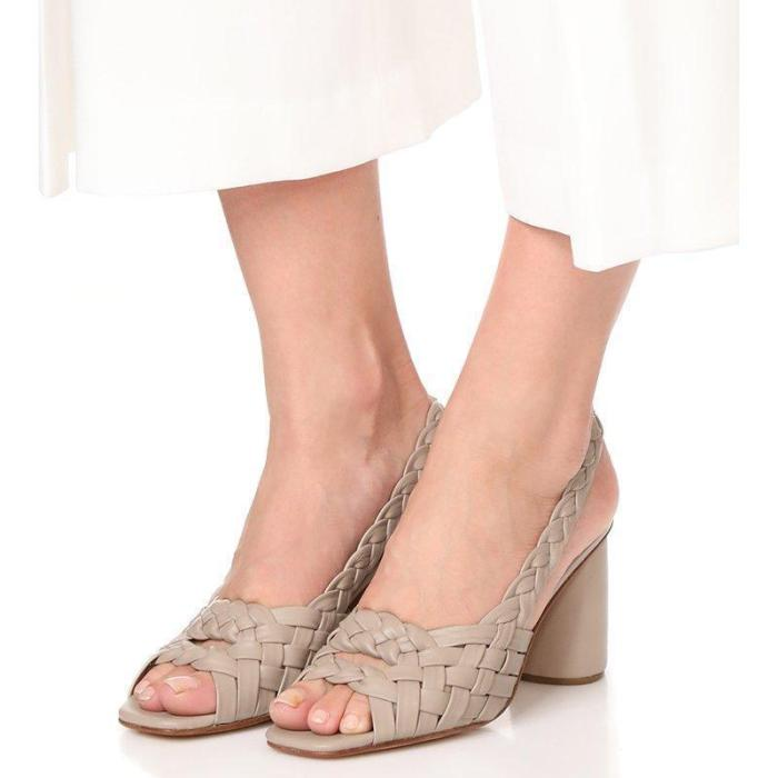 Brown Interweave Peep Toe Ankle-Strap High Chunky Sandals