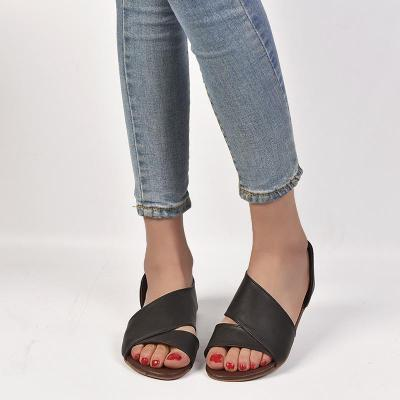 Women's PU Peep Toe Slip-On Flat Sandals