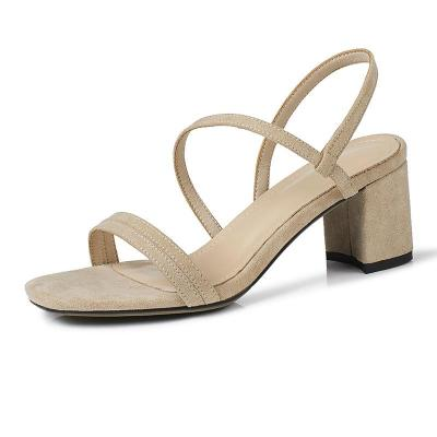 Casual Chunky Heel Suede Open Toe Sandals