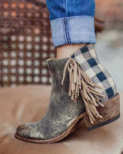 Mid Calf Plaid Tassel Boot