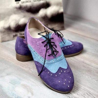 Casual stitching color tie flat loafers