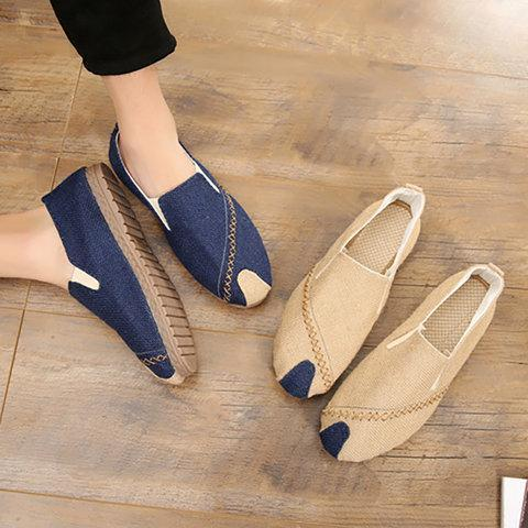 Linen Elastic Band Flats Loafers