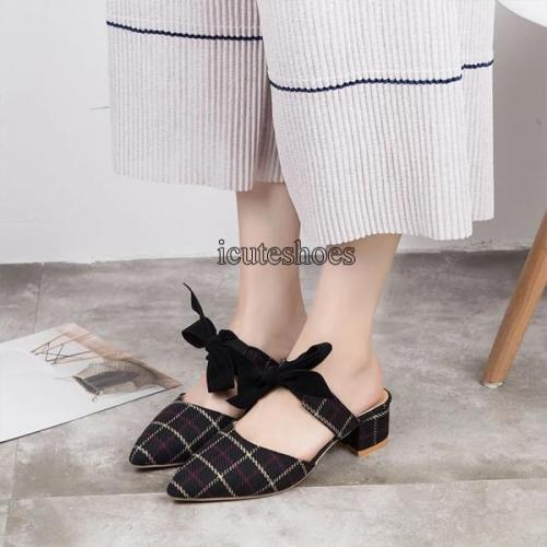 Half Slippers Women's Summer Fashion Wear 2020 New Pointy High Thick Heel Muller Shoes Lazy Shoes Women's Cool Slippers
