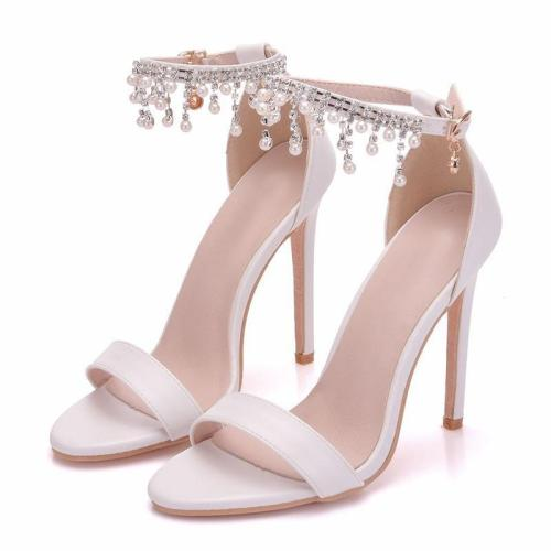 White Imitation Pearls High Heel Sandals