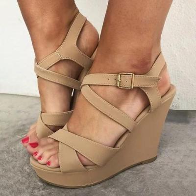 Women's Fashion Plus Size  Wedges Peep Toe Cross Sandals