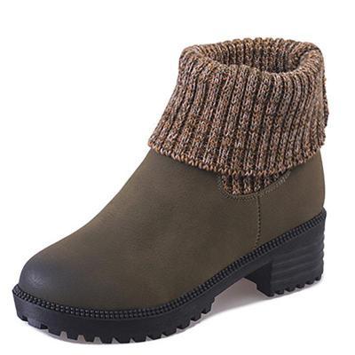 Women PU Booties Casual Comfort Slip On Shoes