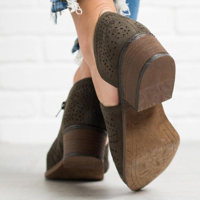 Hollow-out Vintage Roma Women Chunky Heels Shoes