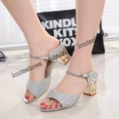 Cool Slippers Women's New Summer Open Toe Thick Heel High Heels Fashion Women's Shoes