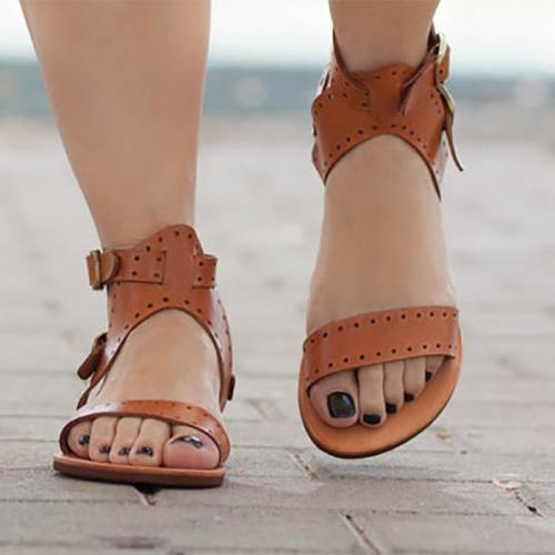 Fashion Zipper Beach Flat Sandal