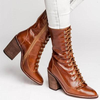 Chic Women Pointed Toe Chunky High Heels Boots