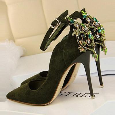 Sexy Rhinestone Pointed-Top Slim Heels Shoes