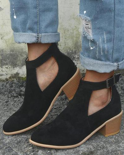 Solid Cutout Belted Ankle Bootie