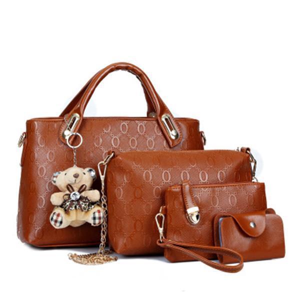 4 PCS Solid Handbag Shoulder Bag Purse Wallet
