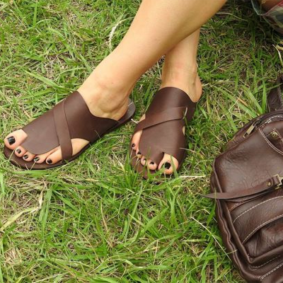 Casual Slip-On Open Toe Flat Slide Sandals