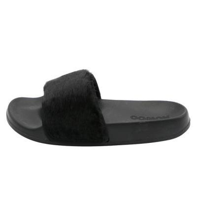 Slide Sandals Open Toe Fur Slippers Ladies Flat Shoes