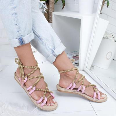 Women Flat Rope Lace-Up Multicolor Summer Sandals