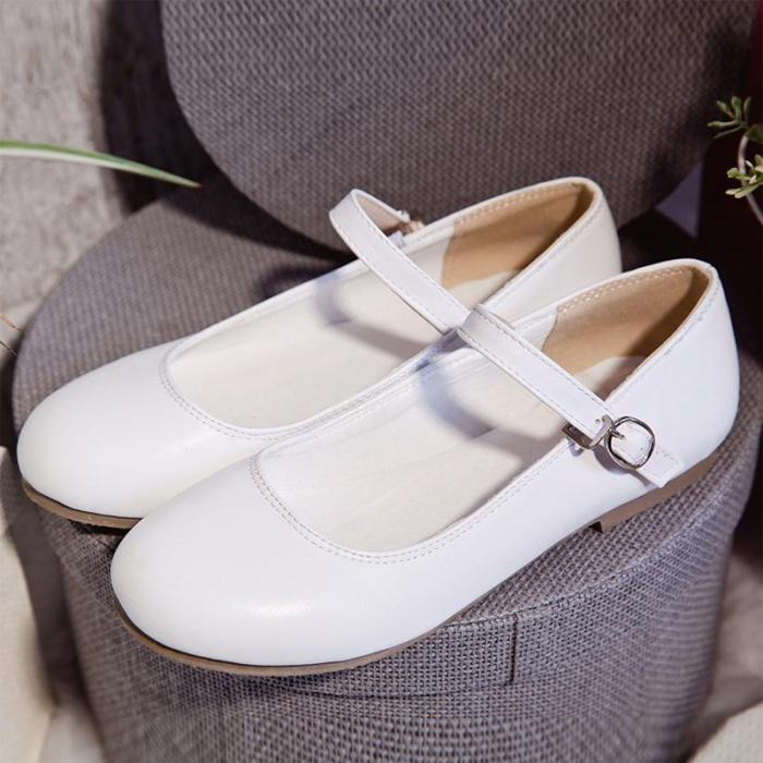 Solid Plain Mary Jane Shoes Buckle Flats