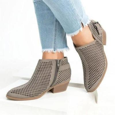 Perforated Ankle Booties Casual Side Zipper Low Heel Boots