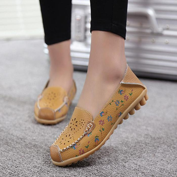 Women's PU Hollow-out Moccasin Ommino Flat Shoes