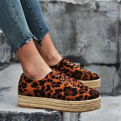 Hemp Rope Round Toe Leopard Women's Flat Shoes