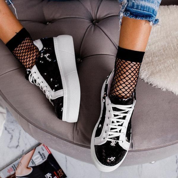 Shinny Bling Platform Lace-Up Sneaker