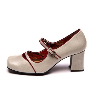 Women Contrast Color Middle Heels Casual Mary Jane Sandals