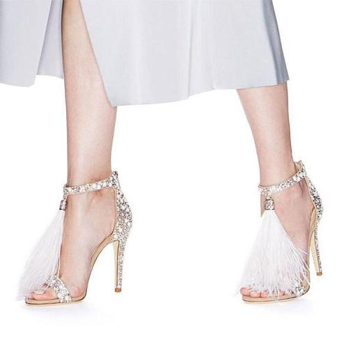High Heel Feather Rhinestone Evening Party Heels