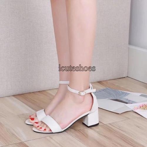 Thick Heel Sandals Women's Summer 2020 New Roman Style Middle Heel Belt High Heel Women's Shoes