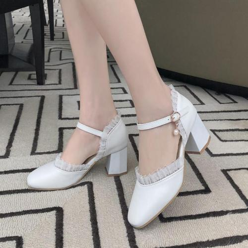 Sweet Lace Round Toe Adjustable Buckle Summer Shoes