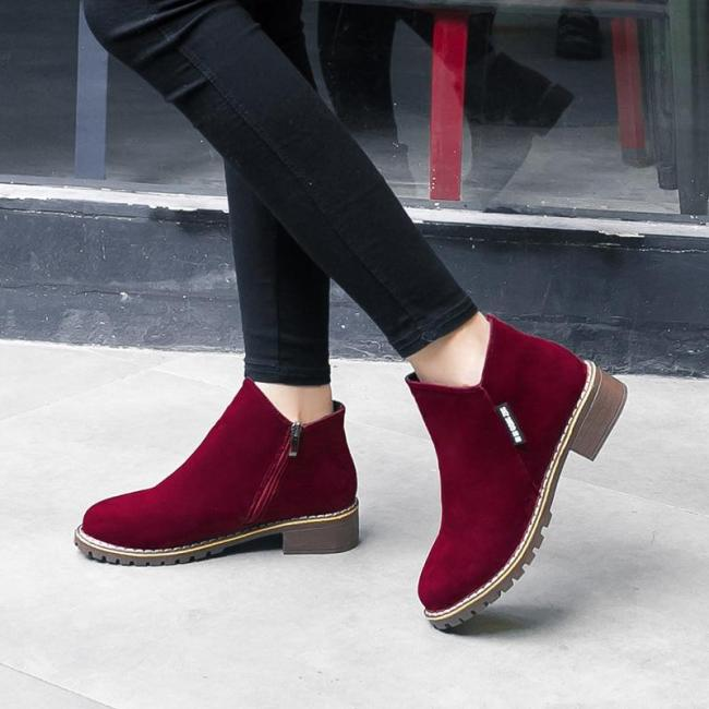 Ankle Boots Heels Shoes Woman Suede Leather
