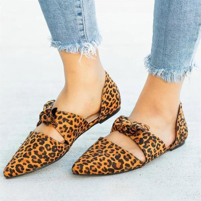 Causal Point Toe Leopard Print Bow-tied Cut-out Shoes