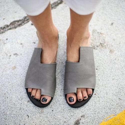 Solid Fashion Design Flip Flop Asymmetric Sandals