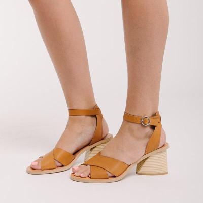 Ankle Strap Buckle Cross-Band Medium Chunky Peep Toe Sandals