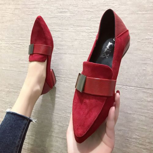 ins two soft leather red pointed toe shoes