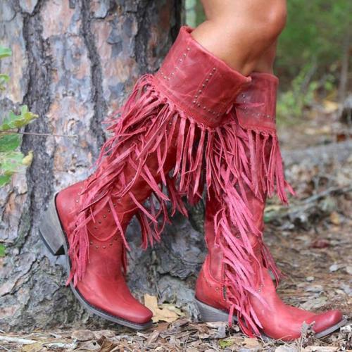 Tassel Low Heel Mid-calf Boots
