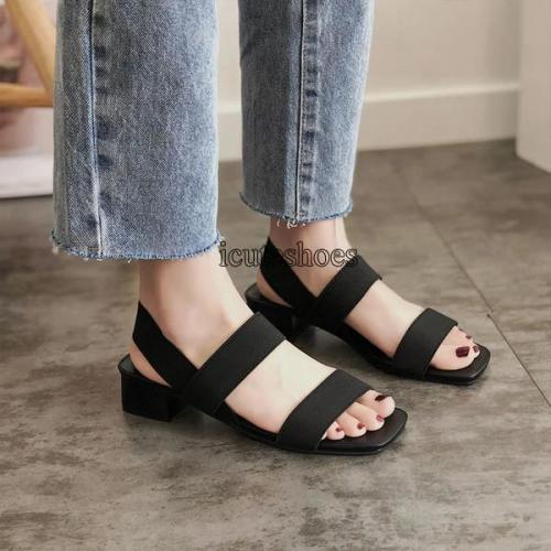2020 New Middle Heel Waterproof Platform Thick Heel Slippers Women's One Word Belt Women's Shoes
