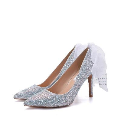 Women's Fashion Solid Color Rhinestone Decorative Pointed High Heels