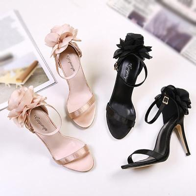 Fashion Women Big Flower Belt Buckle Stilettos
