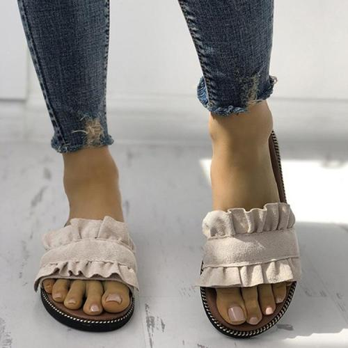 Casual Ruffles Hem Slide Outdoor Flat Slippers