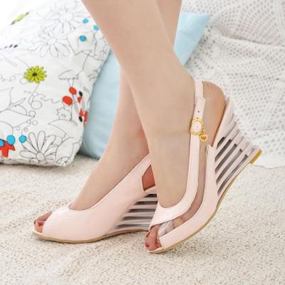 Patent Leather Peep Toe Wedge Sandals