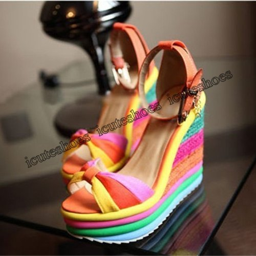 Women's Ladies Wedges High Patchwork Sandals Peep Toe Roman Shoes sandals high heels