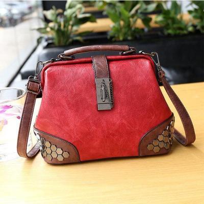 Faux Leather Vintage Sequin Bucket Crossbody Bag Handbag