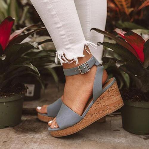 Fashion Adjustable Buckle Wedge Sandals