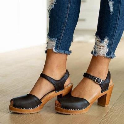Orange Peep Toe Casual Buckle Strap Sandals