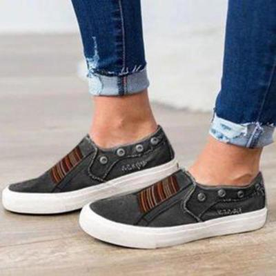 Denim Cloth Adjustable Ripped Flat Male/Female Sneakers