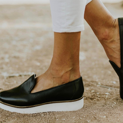 Women's PU Round Toe Slip-On Loafers
